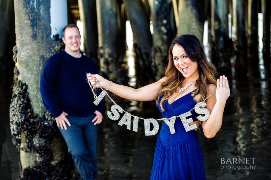 "Cindy holding a super cute ""I Said Yes"" glittery letters"